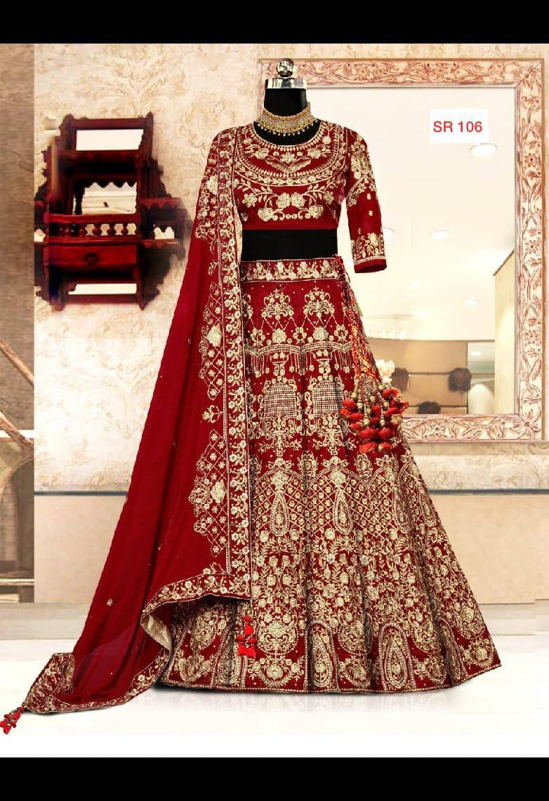 43c00d04f9f4c Buy Red Color Silk Designer Heavy Embroidered Bridal Lehenga online ...