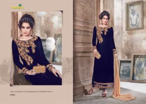 Velvet Embroidered Blue Color Designer Dress Maisha Maskeen 4904