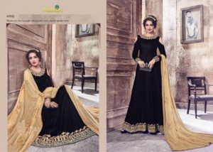Velvet Embroidered Navy Blue Color Designer Dress Maisha Maskeen 4902