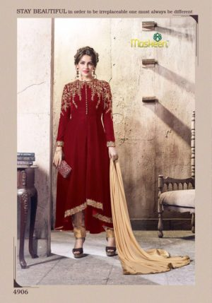 Velvet Embroidered Red Color Designer Dress Maisha Maskeen 4906