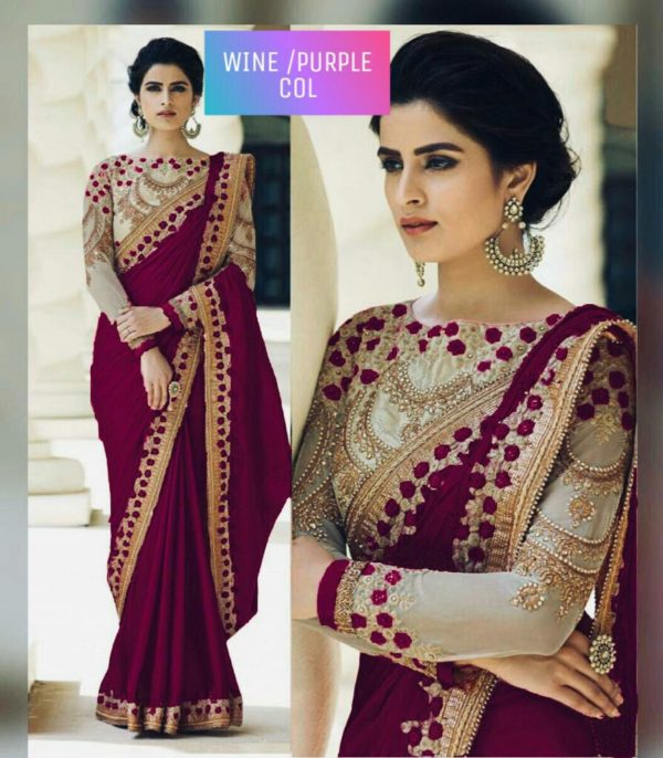 Wine Or Purple Color Rangoli Silk Party Wear Saree With Embroidered And Diamond Work
