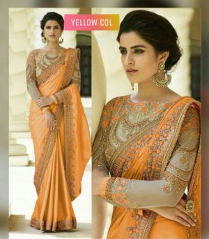 Yellow Color Rangoli Silk Party Wear Saree With Embroidered And Diamond Work