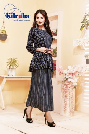 fine rayon cotton print handwork long top black color kurti with jacket-2